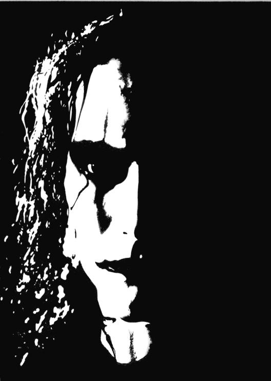 Brandon Lee, The Crow © Julian Vlad 1996. Matita e china, riprodotto da un'elaborazione grafica di autore sconosciuto